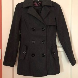 Gray Jacket with black buttons and two pockets